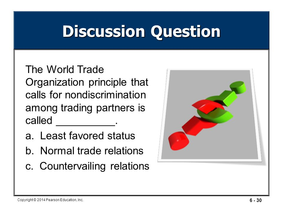 Discussion Question The World Trade Organization principle that calls for nondiscrimination among trading partners is called __________.