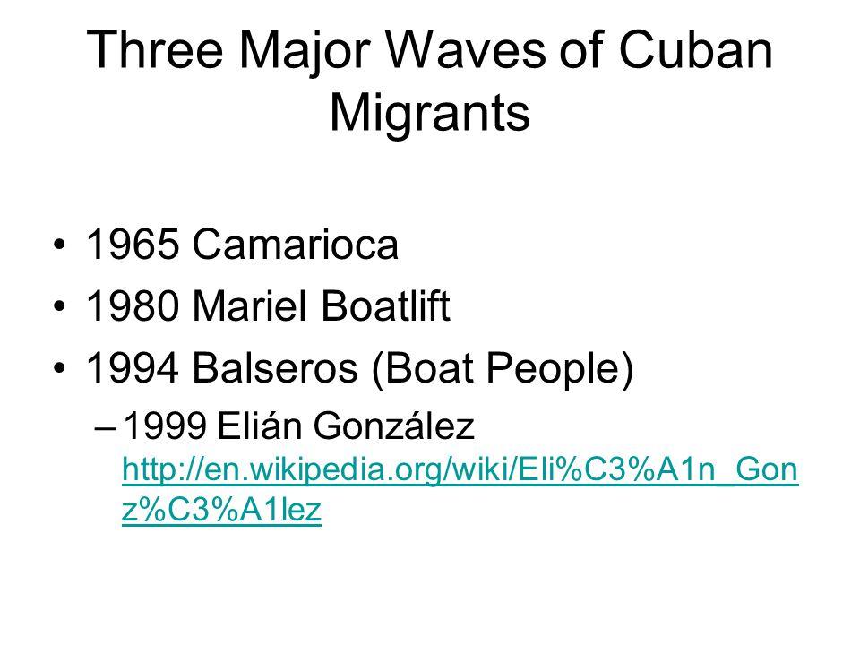Three Major Waves of Cuban Migrants