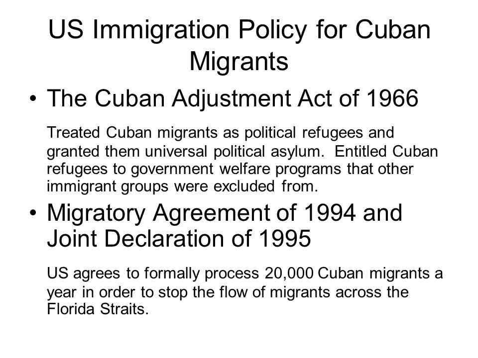 US Immigration Policy for Cuban Migrants
