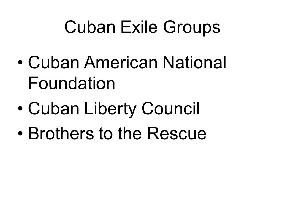 Cuban Exile Groups Cuban American National Foundation Cuban Liberty Council Brothers to the Rescue