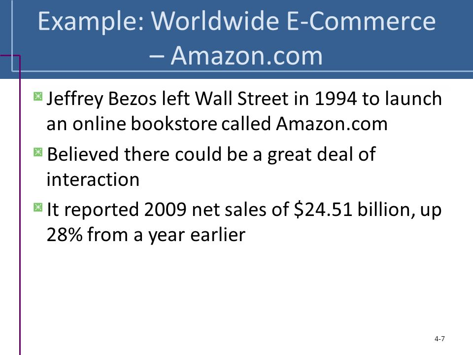 Example: Worldwide E-Commerce – Amazon.com