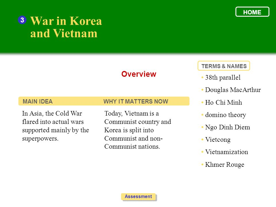 War in Korea and Vietnam Overview 3 • 38th parallel