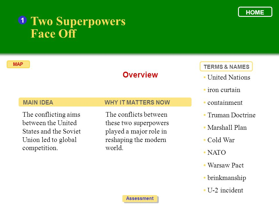 Two Superpowers Face Off Overview 1 • United Nations • iron curtain