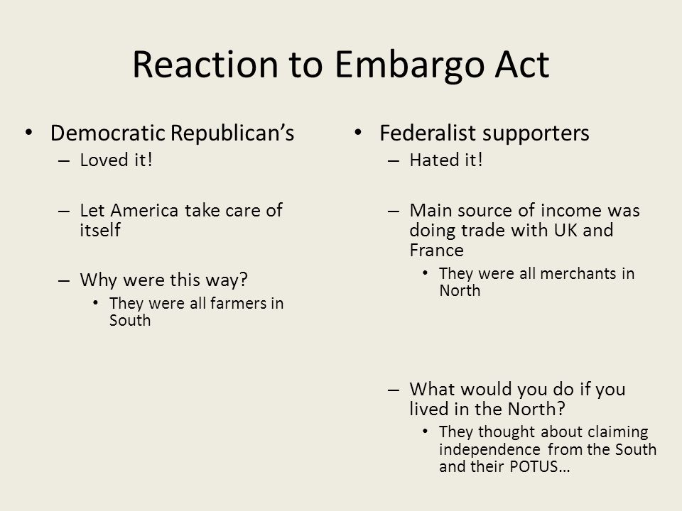 Reaction to Embargo Act