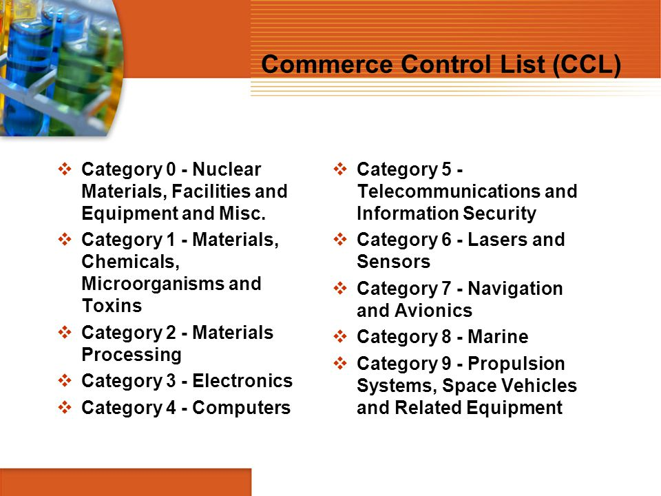 Commerce Control List (CCL)