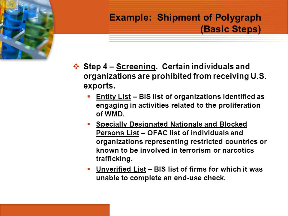 Example: Shipment of Polygraph (Basic Steps)