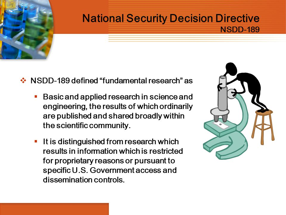 National Security Decision Directive NSDD-189