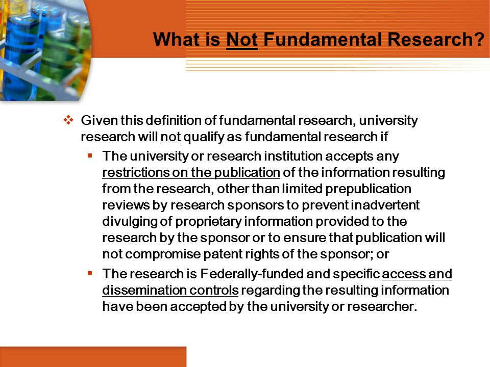 What is Not Fundamental Research