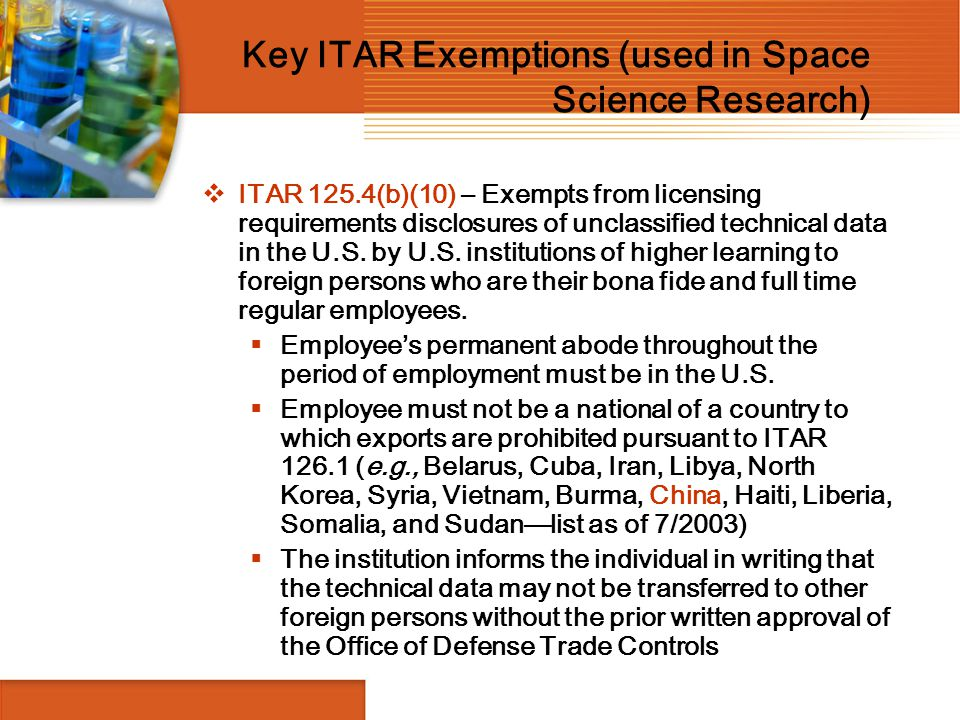 Key ITAR Exemptions (used in Space Science Research)
