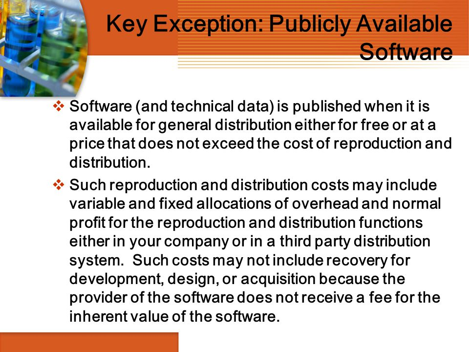 Key Exception: Publicly Available Software