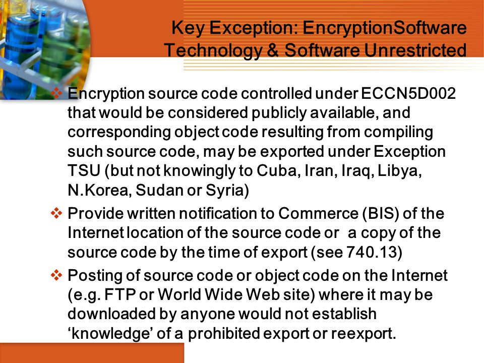 Key Exception: EncryptionSoftware Technology & Software Unrestricted