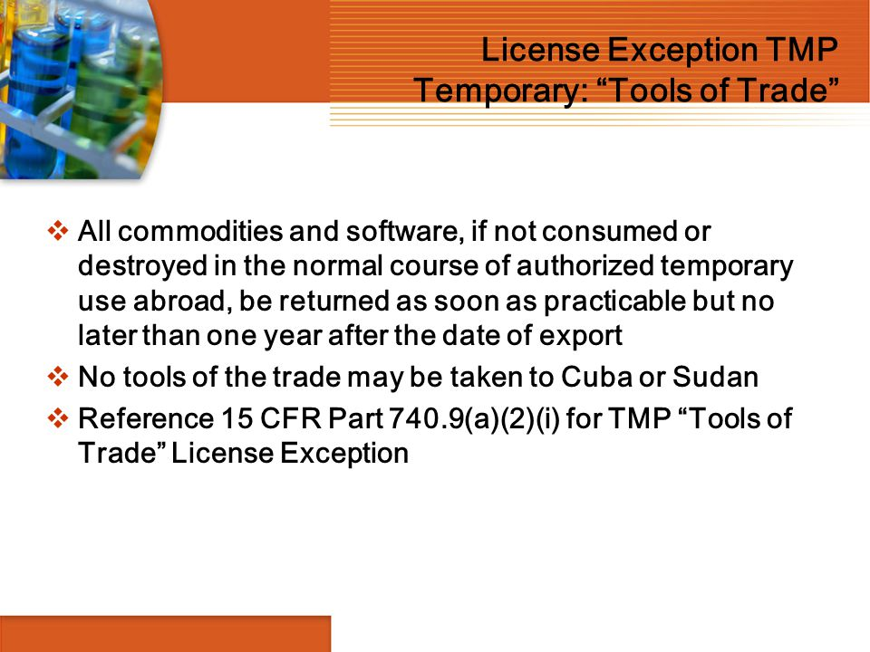 License Exception TMP Temporary: Tools of Trade
