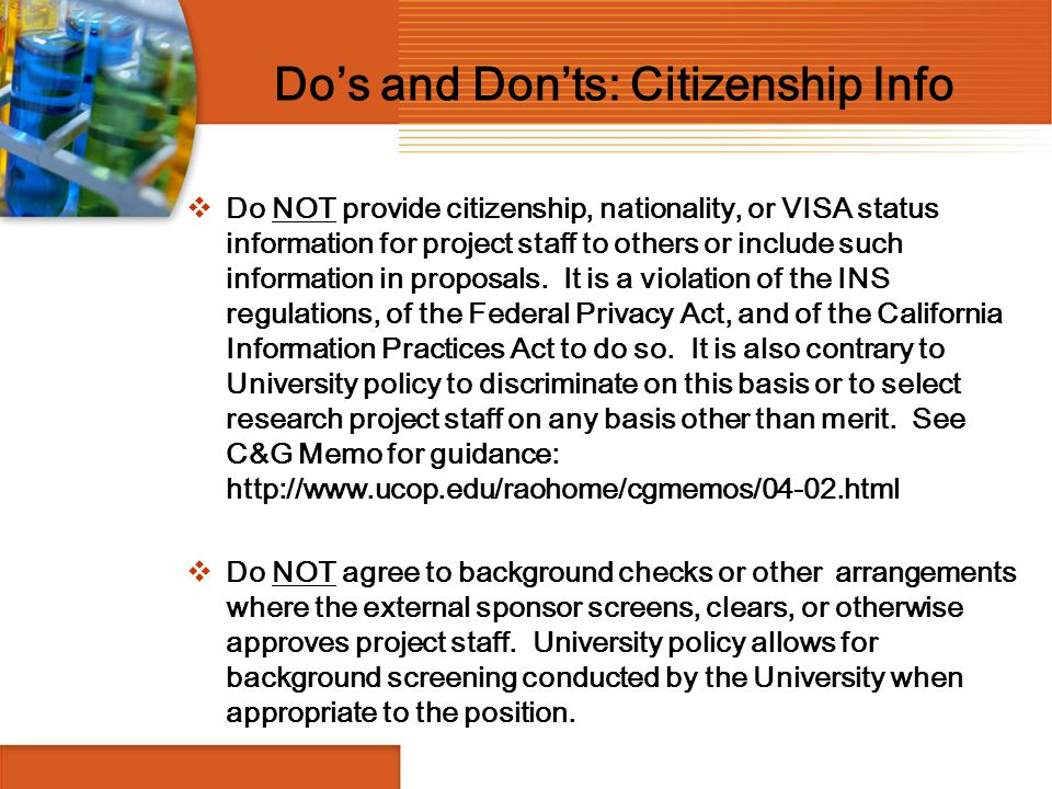 Do's and Don'ts: Citizenship Info