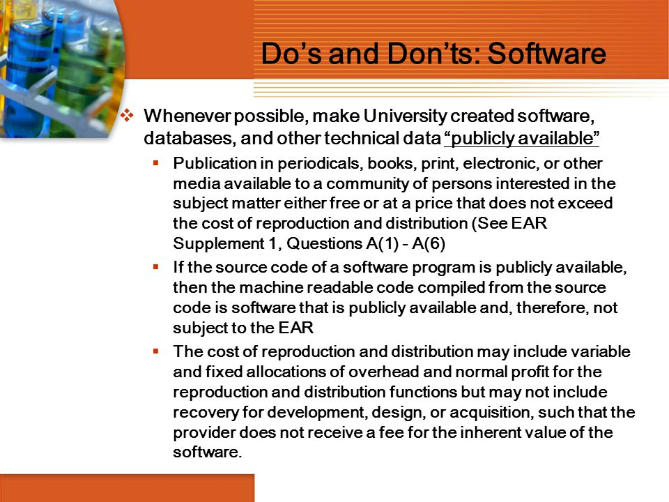 Do's and Don'ts: Software
