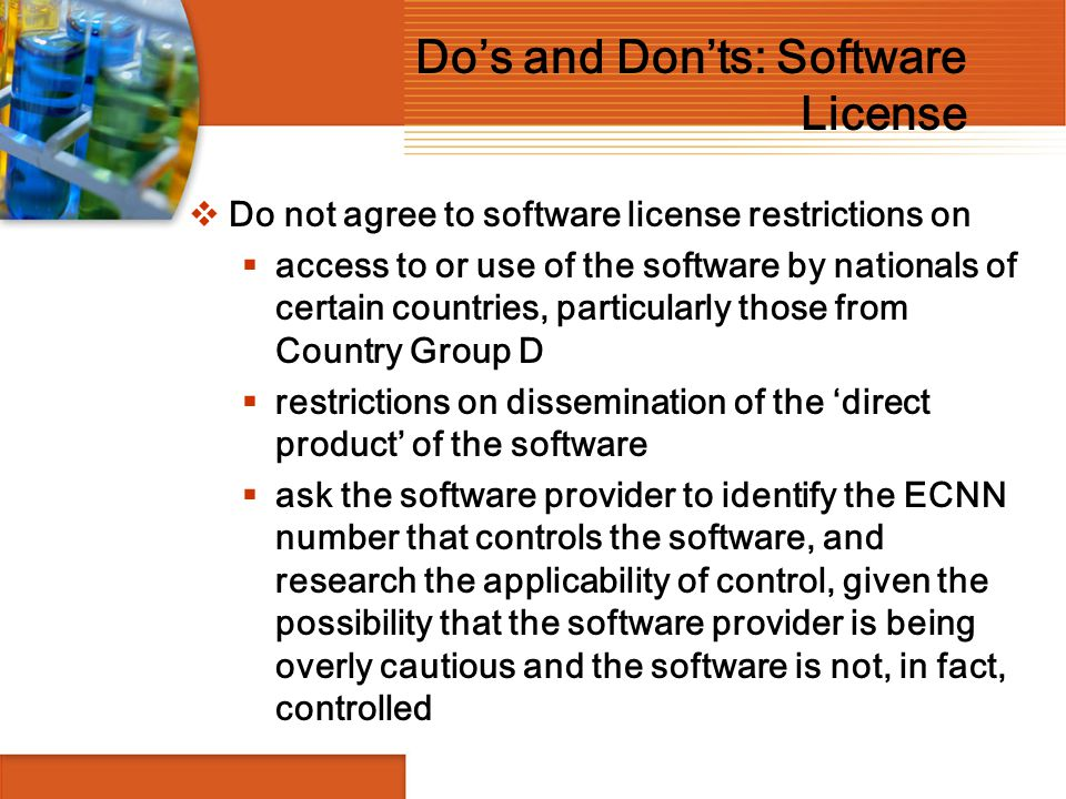 Do's and Don'ts: Software License