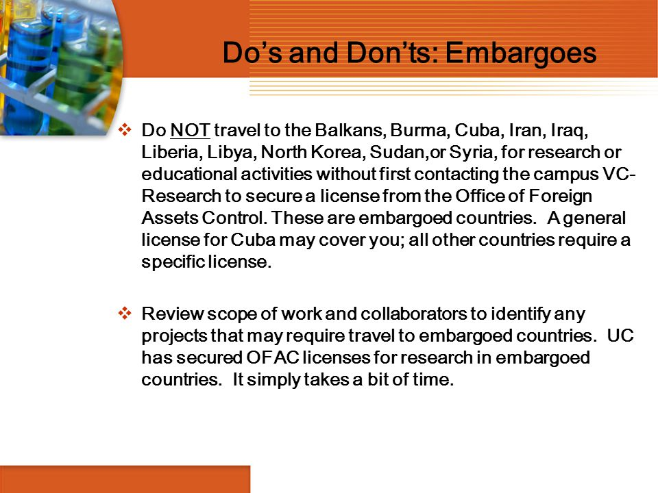 Do's and Don'ts: Embargoes