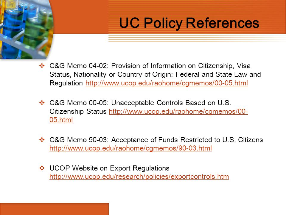 UC Policy References