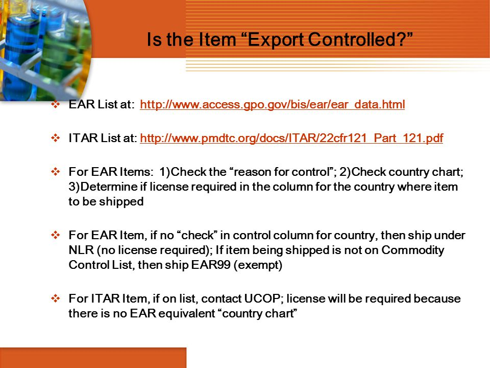 Is the Item Export Controlled