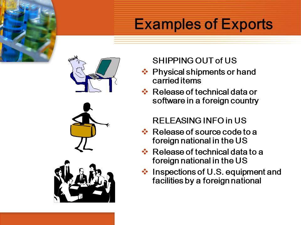Examples of Exports SHIPPING OUT of US