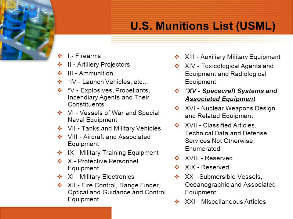 U.S. Munitions List (USML)