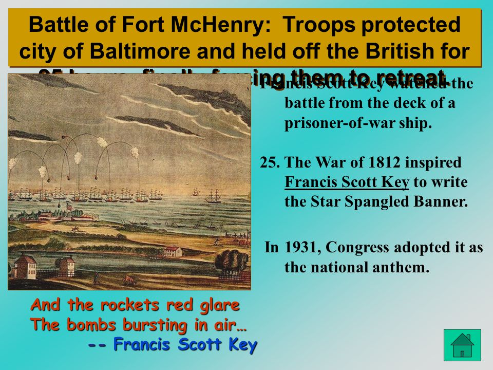 Battle of Fort McHenry: Troops protected city of Baltimore and held off the British for 25 hours, finally forcing them to retreat.