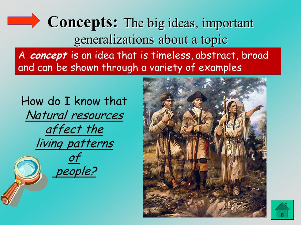 Concepts: The big ideas, important generalizations about a topic