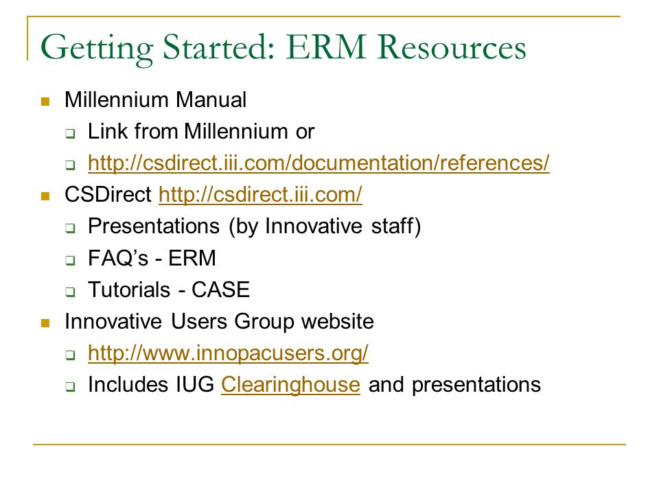 Getting Started: ERM Resources