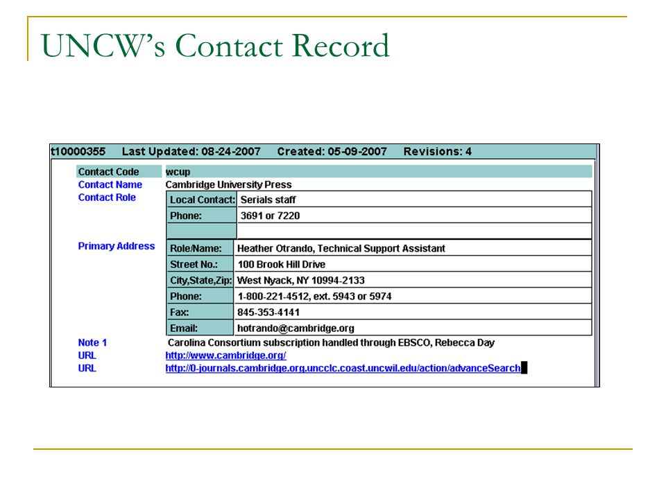 UNCW's Contact Record