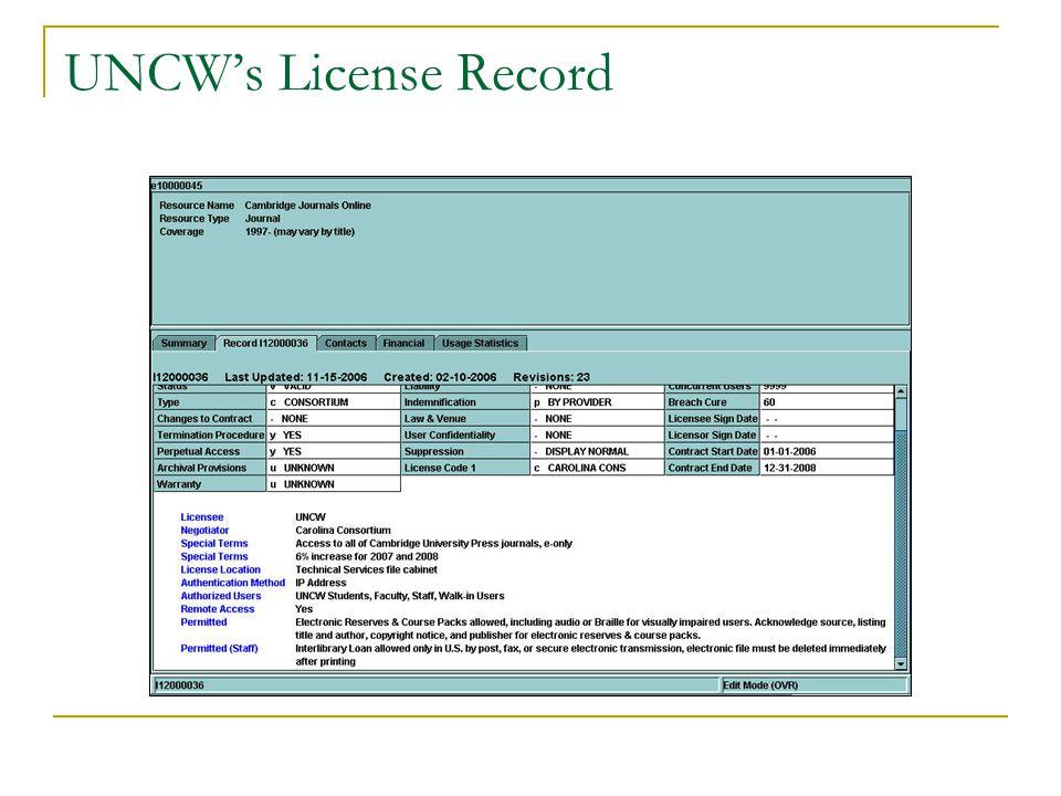 UNCW's License Record