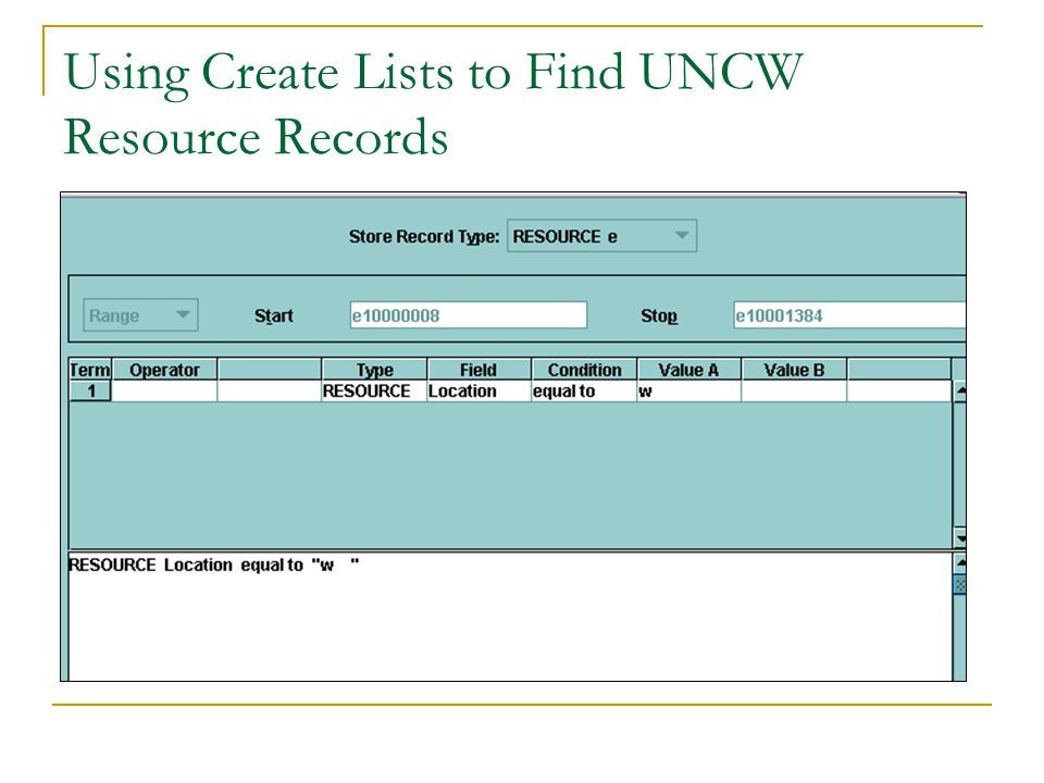 Using Create Lists to Find UNCW Resource Records