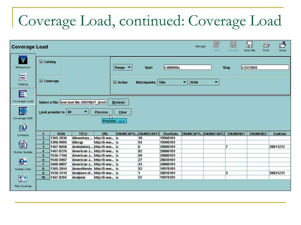 Coverage Load, continued: Coverage Load