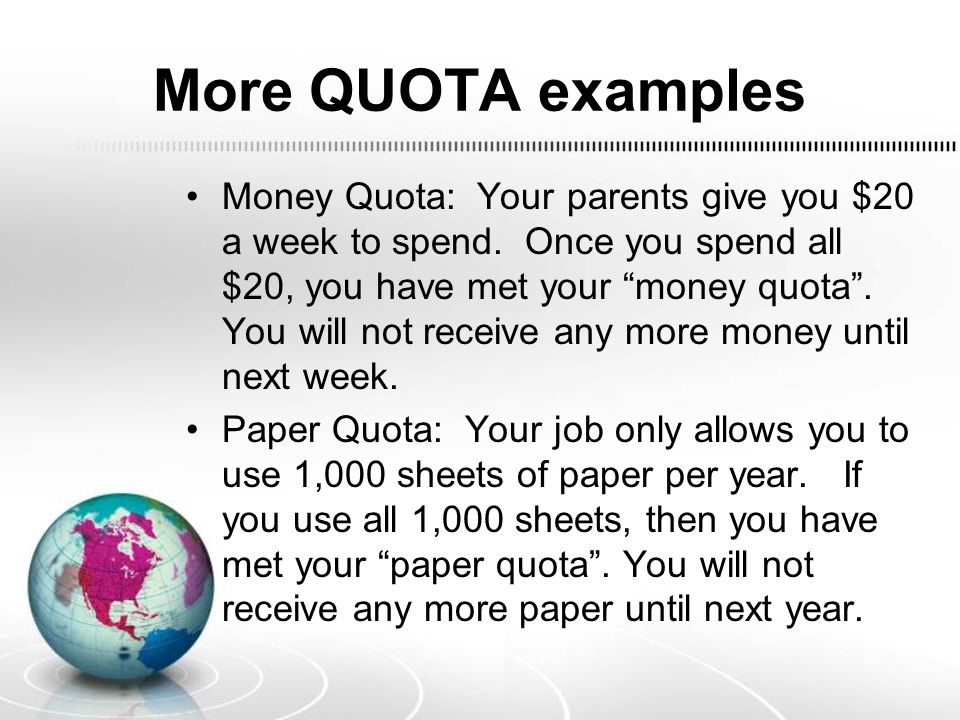 More QUOTA examples
