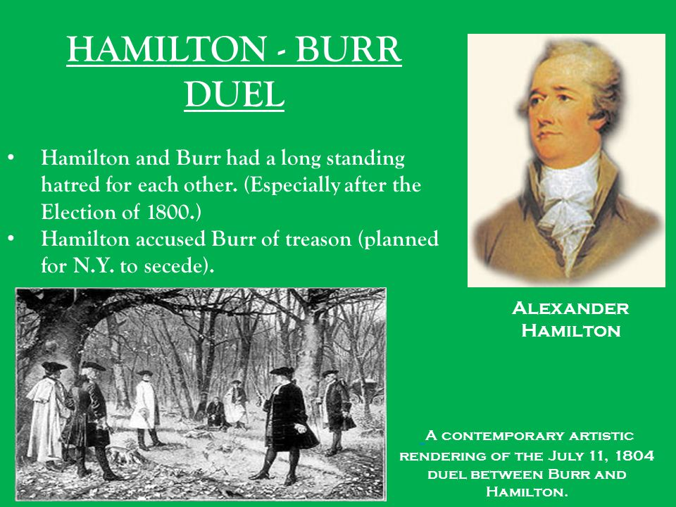 HAMILTON - BURR DUEL Hamilton and Burr had a long standing hatred for each other. (Especially after the Election of 1800.)