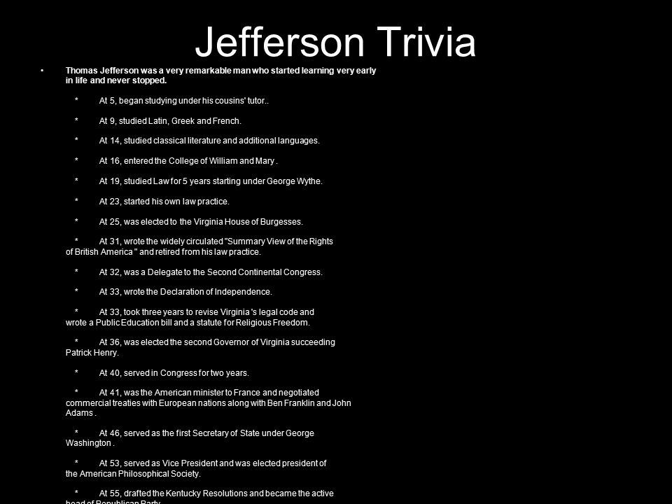 Jefferson Trivia