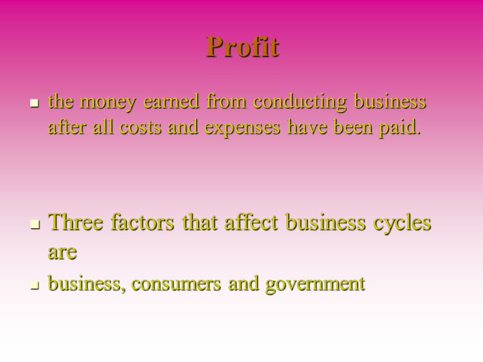 Profit Three factors that affect business cycles are