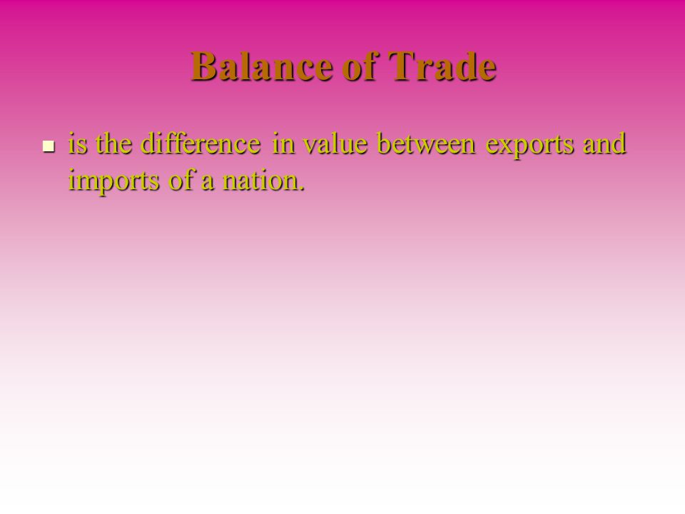 Balance of Trade is the difference in value between exports and imports of a nation.