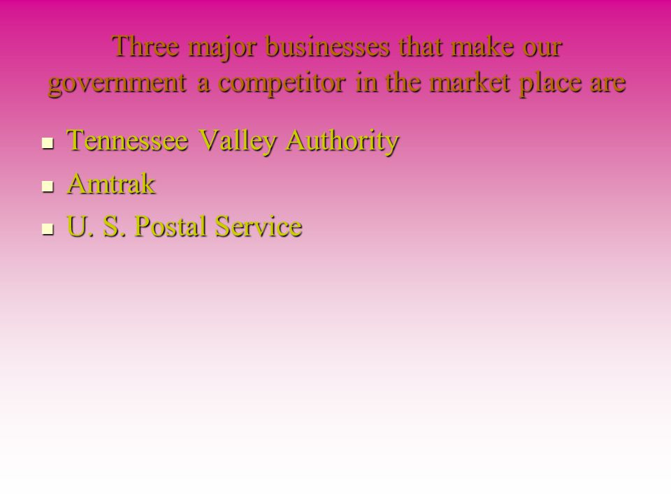 Three major businesses that make our government a competitor in the market place are
