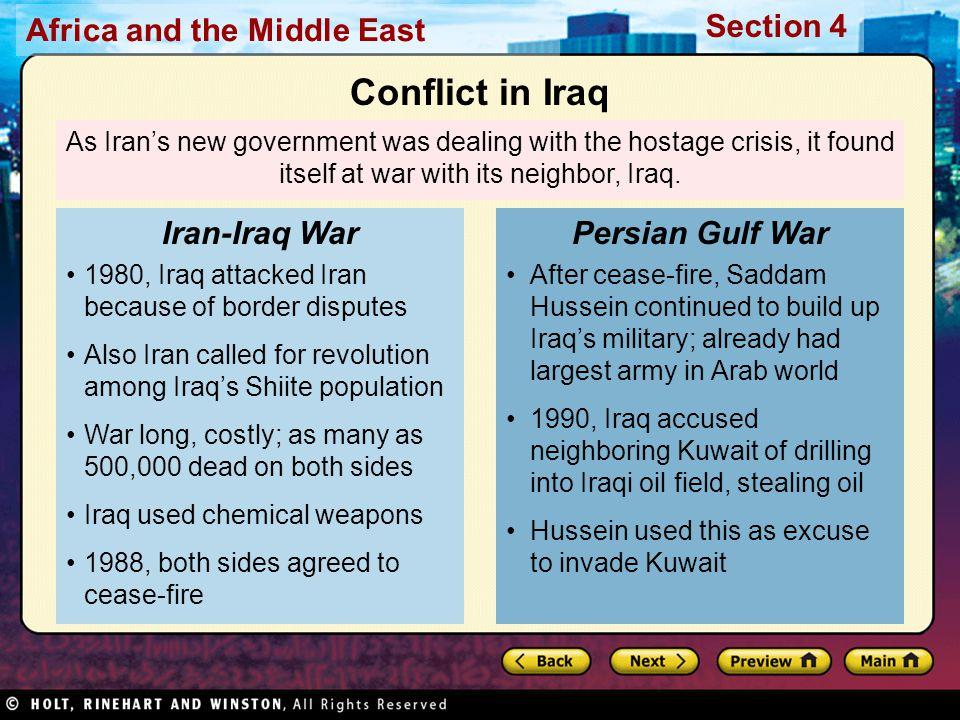 Conflict in Iraq Iran-Iraq War Persian Gulf War