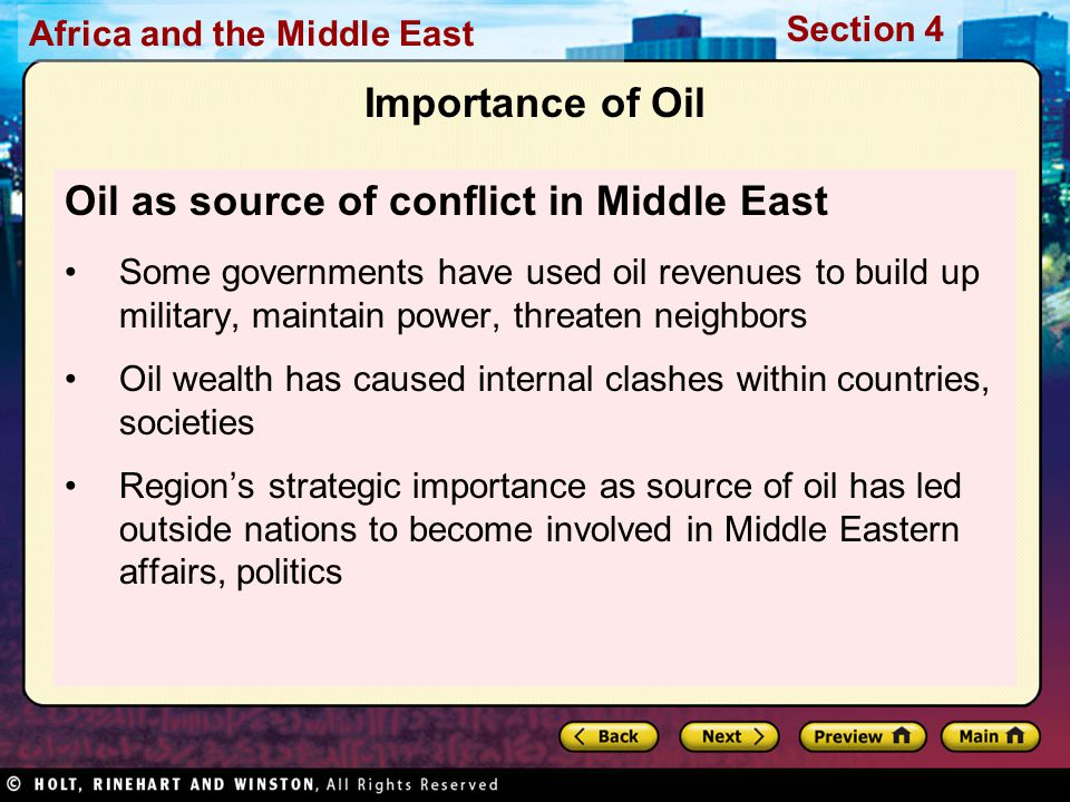 Oil as source of conflict in Middle East