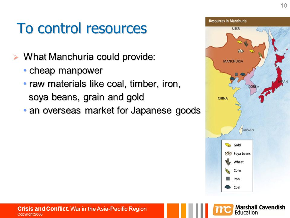 To control resources What Manchuria could provide: • cheap manpower