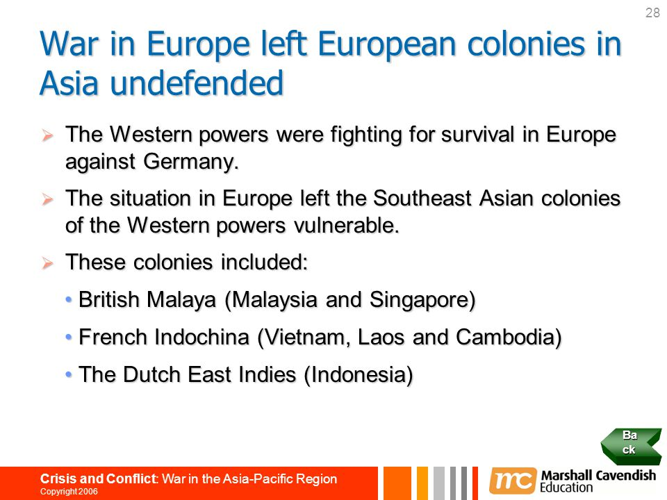 War in Europe left European colonies in Asia undefended