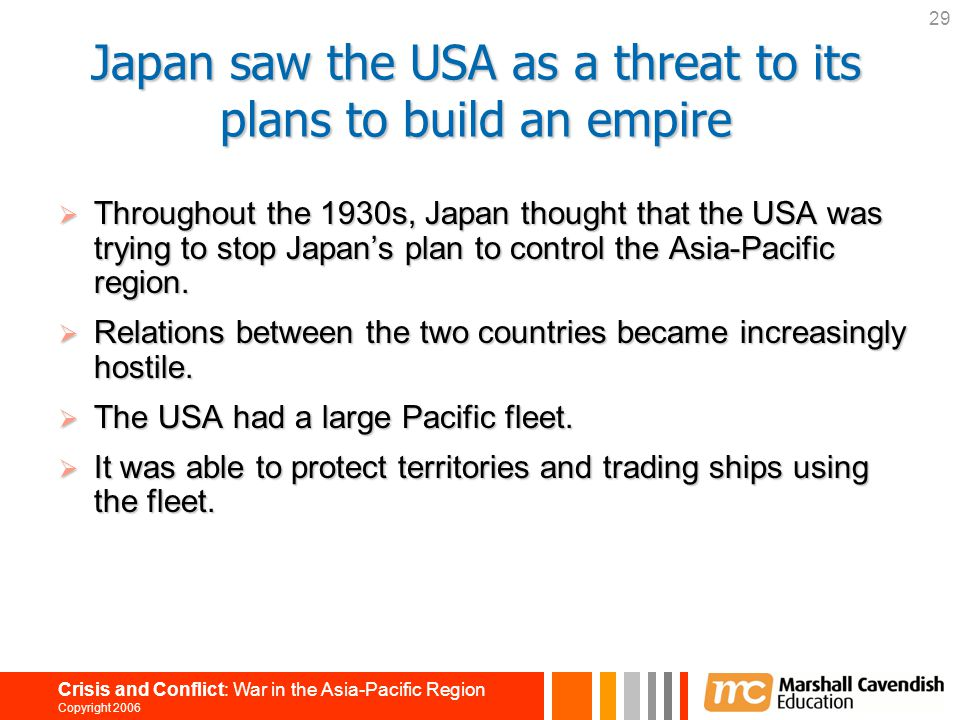 Japan saw the USA as a threat to its plans to build an empire
