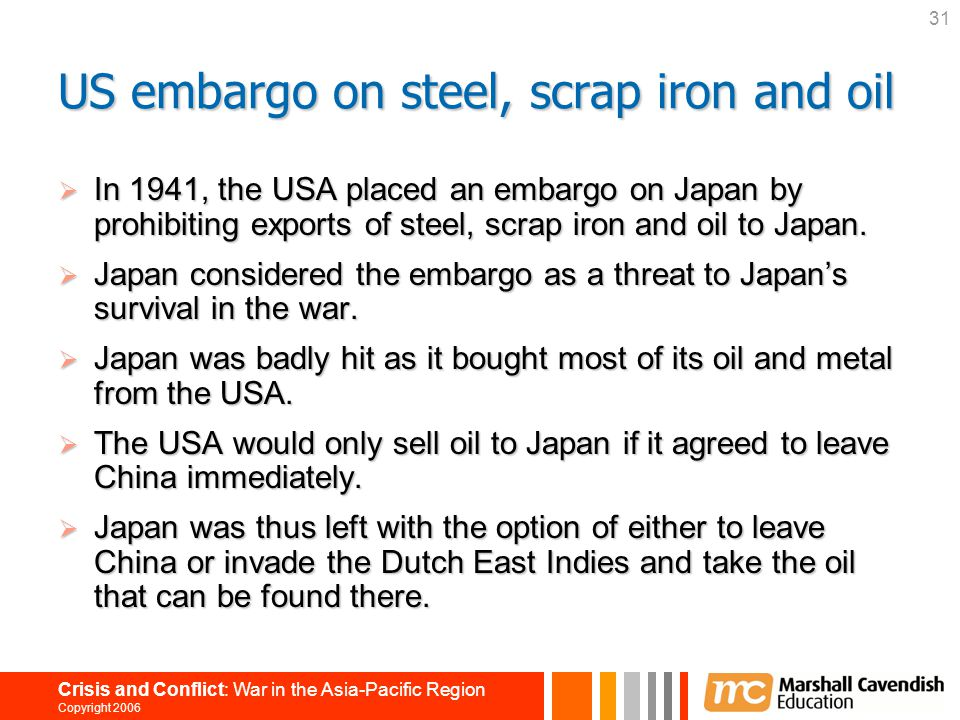 US embargo on steel, scrap iron and oil