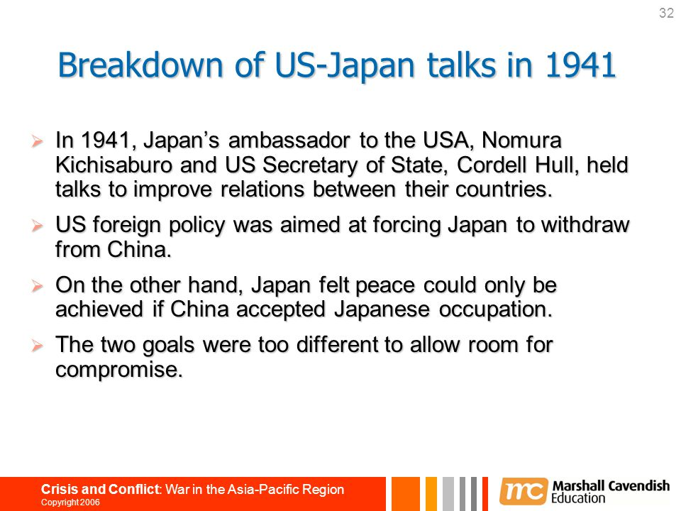 Breakdown of US-Japan talks in 1941