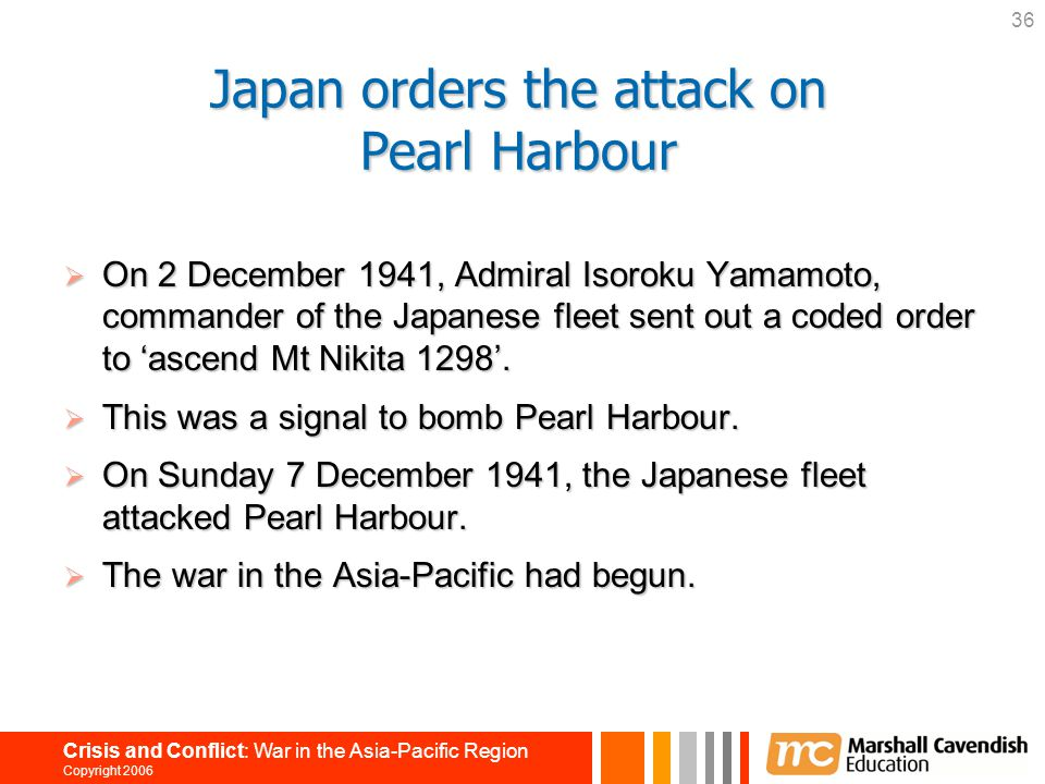 Japan orders the attack on Pearl Harbour