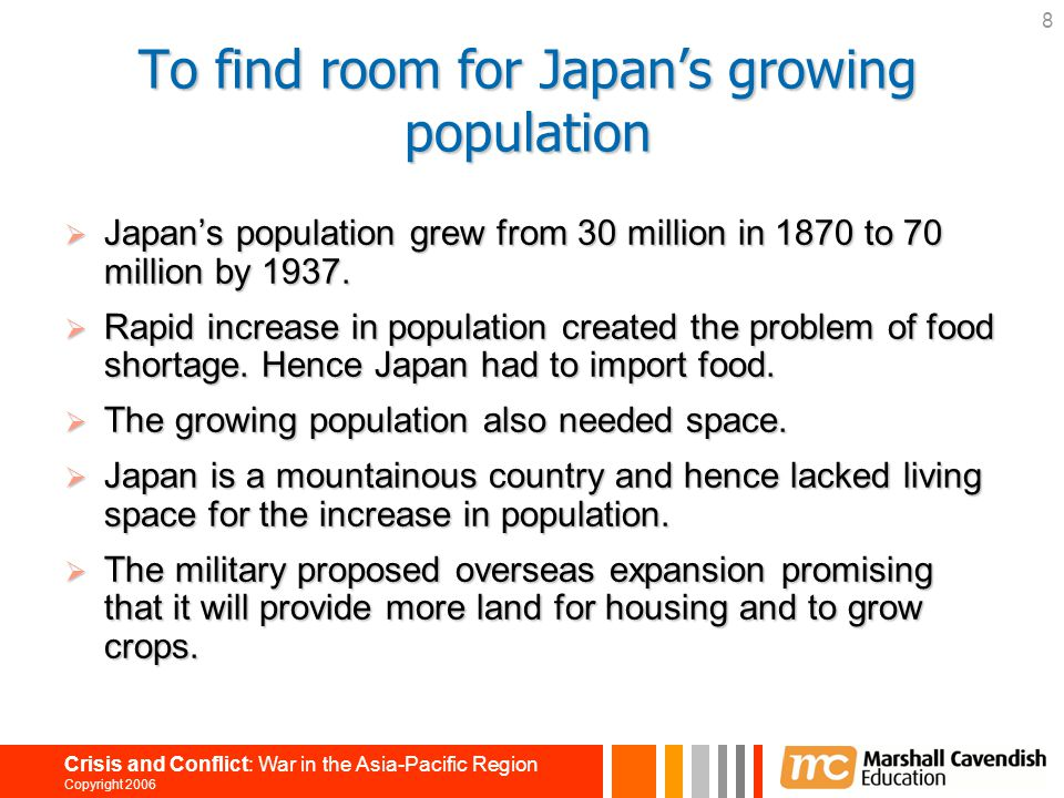 To find room for Japan's growing population