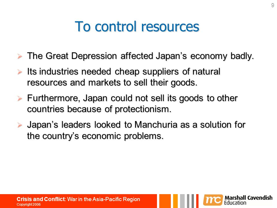 To control resources The Great Depression affected Japan's economy badly.