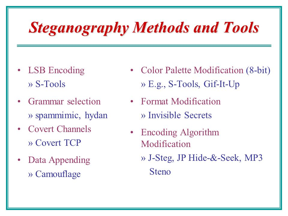 Steganography Methods and Tools