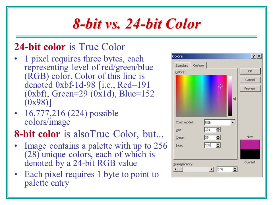 8-bit vs. 24-bit Color 24-bit color is True Color