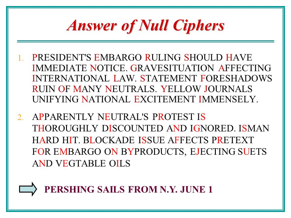 Answer of Null Ciphers